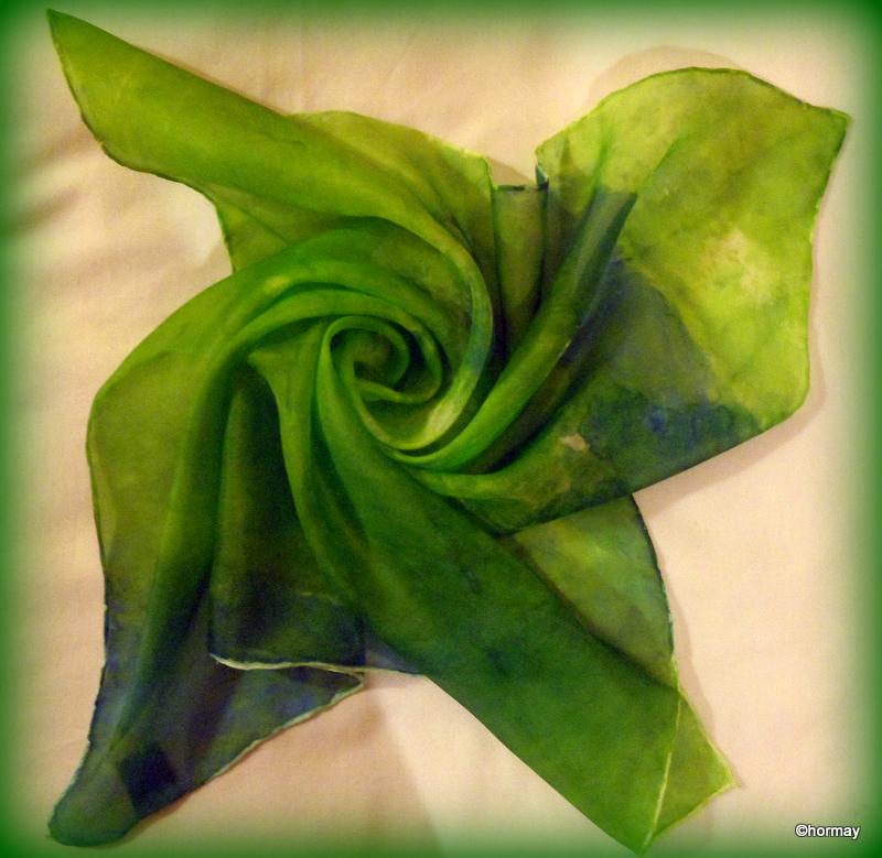 Zöld selyem sál