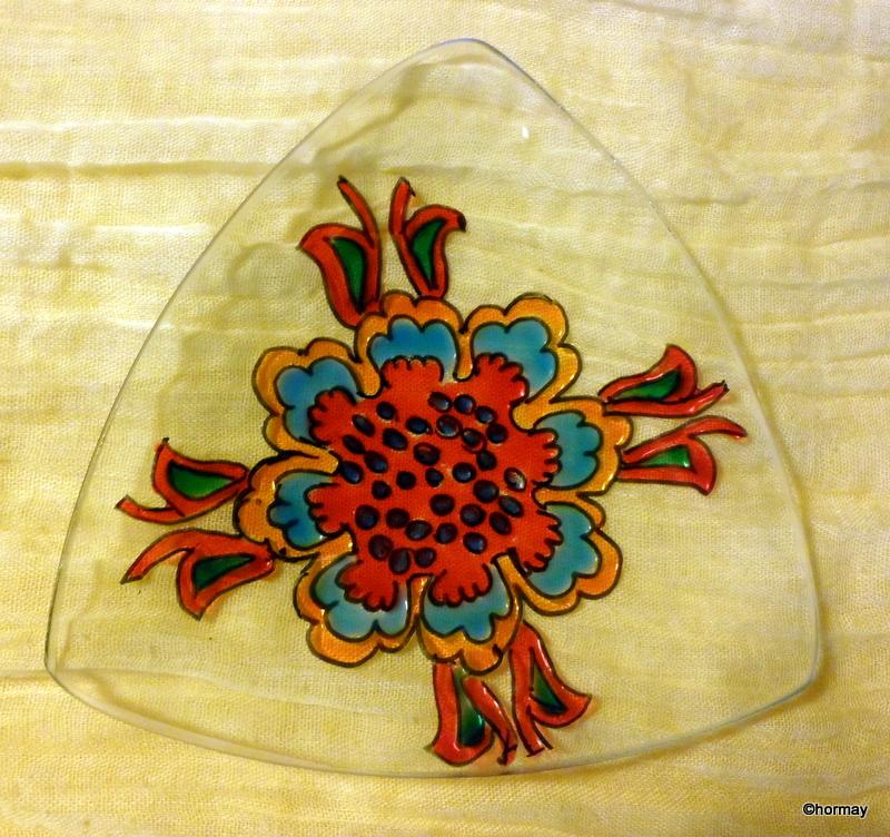 Virágmintás mécsestartó (13x13cm)