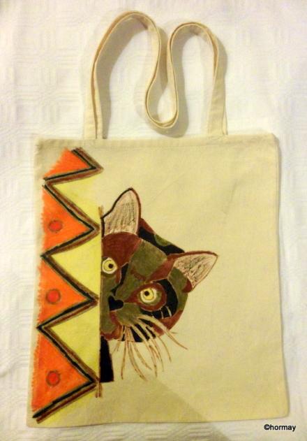 Macskás mintás vászon táska
