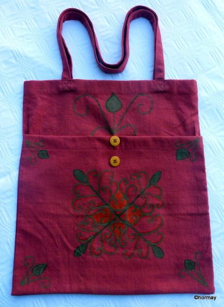 Mintás bordó vászon táska