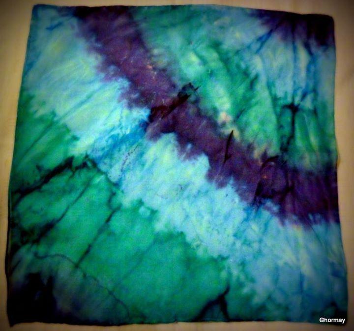 Kék batikolt selyemsál -torok csakrára