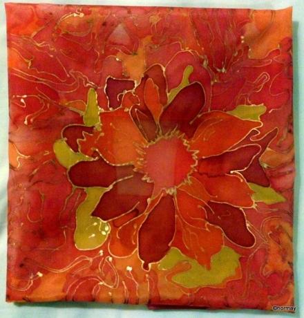 Tűzvirág- selyemkendő